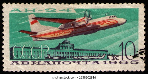 USSR - CIRCA 1965: post stamp 10 Soviet kopek printed by USSR, shows Antonov An-24 (NATO reporting name: Coke), 44-seat twin turboprop transport/passenger aircraft designed in 1957, USSR, circa 1965