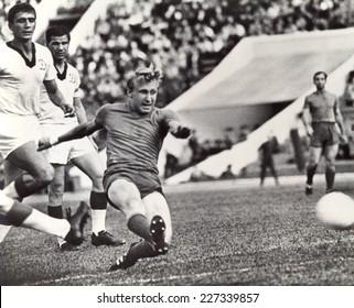 USSR - CIRCA 1965: Vintage photo shows soccer team, 1965