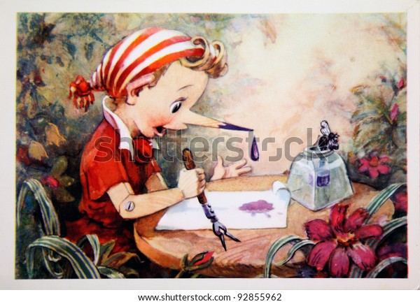 USSR - CIRCA 1967: Reproduction of antique postcard shows Pinocchio, circa 1967