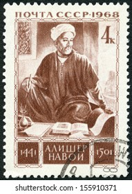 USSR - CIRCA 1968: A stamp printed in the USSR shows Alisher Navoi (1441-1501), 525th Birth Anniversary, circa 1968