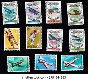 USSR - circa 1970: A set of postage stamps depicting airplanes. Aircraft Old aircraft Amphibia, AN-31, AK-1-5, UT-2, Yak-18, Yak-55, Yak-50. Drawing on an old stamp. Plane collage.