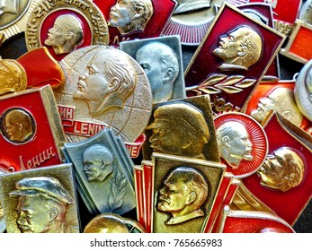 USSR - CIRCA 1970: Soviet badges depicting Vladimir Lenin (Ulyanov). Collection. Retro. Closeup. Faleristics.