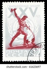 USSR - CIRCA 1970: a stamp printed by USSR, shows XXV anniversary of United Nations, circa 1970.