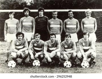 USSR - CIRCA 1970: Vintage photo shows soccer team, 1970