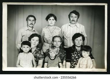 Ussr - CIRCA 1970s: An antique Black & White photo show group family portrait