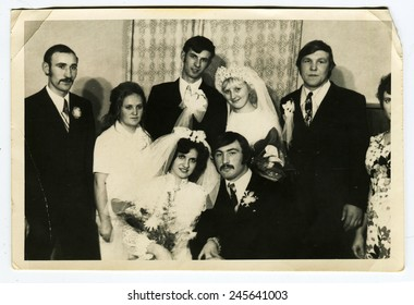 Ussr - CIRCA 1970s: An antique Black & White photo show wedding