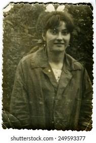 Ussr - CIRCA 1970s: An antique Black & White photo show girl in garden