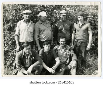 Ussr - CIRCA 1970s: An antique Black & White photo show group men