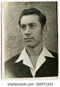 Ussr - CIRCA 1970s: An antique Black & White photo shows man