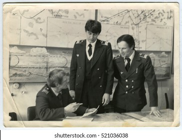 Ussr - CIRCA 1970s: An antique Black & White photo shows Meeting pilots in the flight center