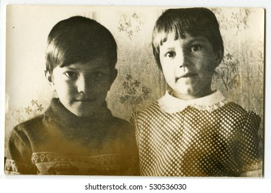 Ussr - CIRCA 1970s: An antique Black & White photo show two children