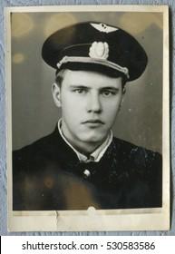 Ussr - CIRCA 1970s: An antique Black & White photo show Portrait of civil aviation pilots