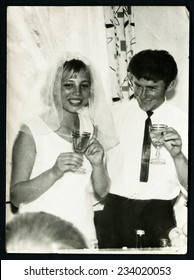 USSR - CIRCA 1970s: An antique photo show wedding