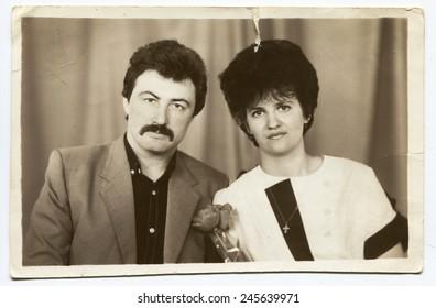 USSR - CIRCA 1970s: An antique photo shows family portrait