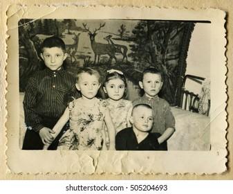 USSR - CIRCA 1970s: An antique photo shows portrait of children, circa 1970s