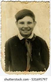 USSR - CIRCA 1970s: Vintage photo of pioneer school boy