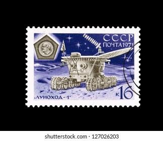 USSR - CIRCA 1971: Postcard printed in the USSR shows Lunohod-1, circa 1971