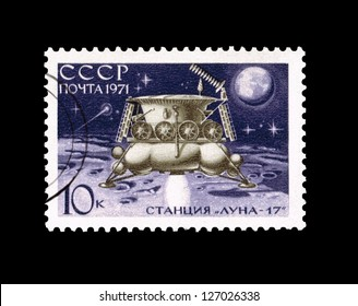 USSR - CIRCA 1971: Postcard printed in the USSR shows Luna-17, circa 1971