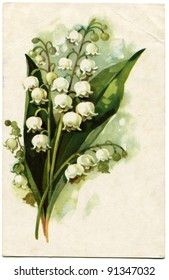 USSR - CIRCA 1971: Postcard printed in the USSR shows Lilies of the Valley - picture artist A Kurtenko, USSR, 1971