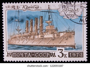 USSR - CIRCA 1972: Stamp printed in USSR shows a cruiser of 1899-,circa 1972