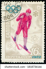 USSR - CIRCA 1972: stamp printed in the USSR shows Cross-country skiing Olympic games athlete, Winter Olympic games, Sapporo 1972, circa 1972