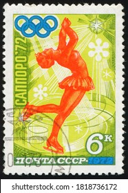 USSR - CIRCA 1972: A stamp printed in the USSR shows Figure skating woman athlete, Winter Olympic games in Sapporo 1972, Japan, circa 1972