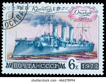 USSR - CIRCA 1972: a stamp printed by USSR shows the cruiser Ochakov and dedicated to  legendary russian ships, series, circa 1972