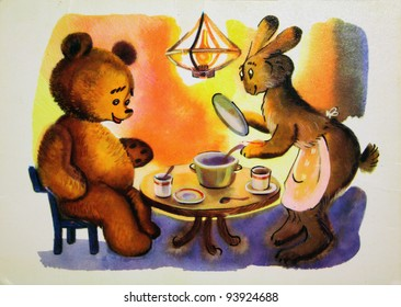 USSR - CIRCA 1976: Reproduction of antique postcard shows Winnie the Pooh and Rabbit at the dinner table, tales of Winnie the Pooh, circa 1976