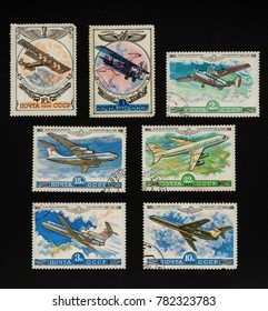 USSR - CIRCA 1976-1979: Collectible stamps from USSR (Soviet Union), issued in 1976-1979. Set of airplanes.