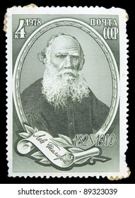 USSR - CIRCA 1978: A postage stamp printed in the USSR, dedicated of 150th anniversary of great Russian writer's Leo Tolstoy birthday, Circa 1978