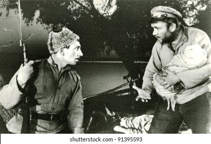 "USSR - CIRCA 1980: Soviet postcard shows movie ""Don novel"" Lenfilm, 1964. Directed by V.Fetin. Director of Photography E.Bricks. Shibalyuk - Yevgeny Leonov, circa 1980"