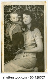 Ussr - CIRCA 1980s: An antique Black & White photo shows Mother with child