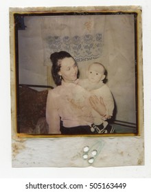 Ussr - CIRCA 1980s: An antique Black & White photo show portrait of a woman with a child