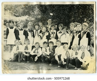 Ussr - CIRCA 1980s: An antique Black & White photo show Group portrait of schoolchildren