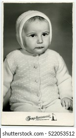 Ussr - CIRCA 1980s: An antique Black & White photo show studio portrait of a little girl
