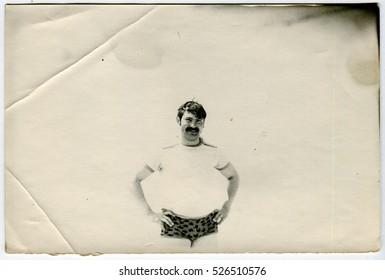 Ussr - CIRCA 1980s: An antique Black & White photo show a man on the beach