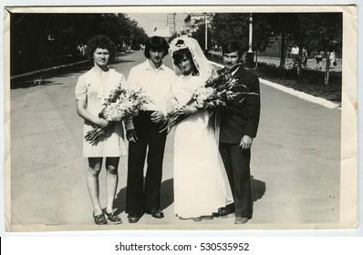Ussr - CIRCA 1980s: An antique Black & White photo show wedding portrait