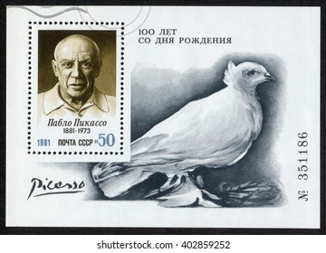 USSR - CIRCA 1981: A mini-sheet stamp printed in USSR shows a picture of Pablo Picasso and his art  with a white pigeon (1881-1973), artist, birth centenary, circa 1981