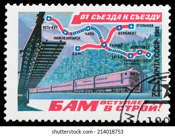 USSR - CIRCA 1981: stamp printed by USSR, shows BAM, syria from congress to congress circa 1981