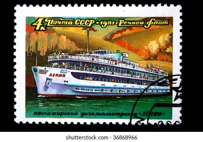 USSR - CIRCA 1981: A stamp printed in the USSR shows Passenger diesel engine the steam ship Lenin, one stamp from series River ships, circa 1971