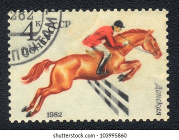 USSR - CIRCA 1982: A stamp printed in USSR shows  a  Donskaya horse racing , series horse breed in a equestrian sport, circa 1982