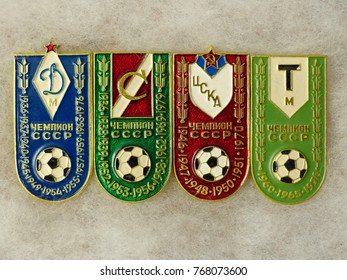 "USSR - CIRCA 1984: Badges with the inscription ""All Moscow clubs are champions of the USSR and the year of victory"" - Dynamo, Spartak, CSKA, Torpedo from the series ""USSR Champions in Football""."