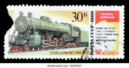 USSR - CIRCA 1986: A post stamp printed in USSR and shows russian electric locomotive, circa 1986