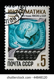USSR - CIRCA 1986: A postage stamp printed in the Soviet Union is dedicated to the UNESCO for the development of informatics in the USSR, circa 1986