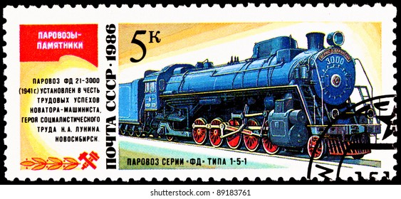 USSR- CIRCA 1986:  A stamp printed in the USSR shows the FD 21-3000 steam locomotive made in 1929, circa 1986.