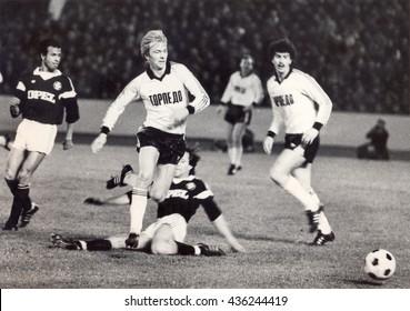 USSR - CIRCA 1987: Vintage photo shows soccer team, 1987