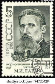 USSR - CIRCA 1988: A postage stamp printed in the USSR, shows the Soviet statesman and party leader M.I. Latsis, circa 1988