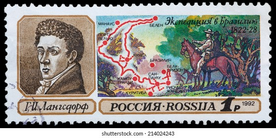 USSR - CIRCA 1992: stamp printed by USSR, shows traveler G. Langsdorf and Expedition in Brazil 1822-1828, circa 1992