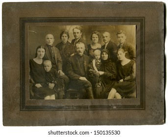 USSR - CIRCA May 10,1930: Antique photo shows studio portrait of big Family, May 10,1930