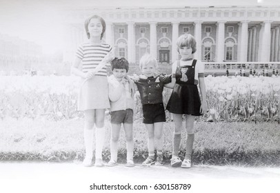 USSR, LENINGRAD - CIRCA 1978: Vintage photo of group of kids together in Leningrad, USSR